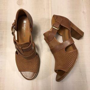 Naturalizer Leather Peep Toe Sandal Booties Tan 6